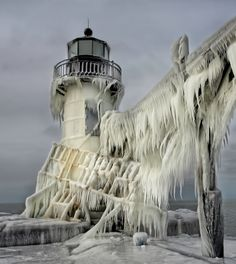 Light House After the Ice Storm.  Again...Whew!
