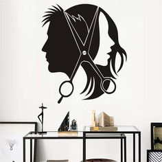 Hair Salon Wall Sticker Vinyl Decal Beautiful Sexy Girl Man Barber Scissors Stickers For Barber Shop Wall Decals Decor Mural