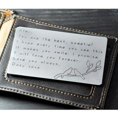 valentines day card Alloy Wallet Insert Card by LovePersonalized, $14.99