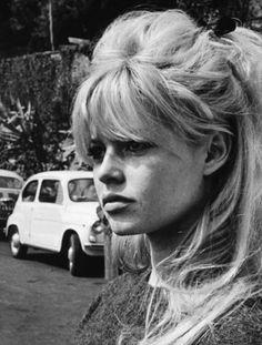 Hair: Blonde, long with bangs, half up. Brigitte Bardot