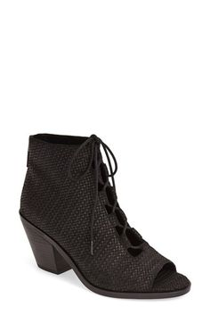 Eileen Fisher 'Slew' Lace Up Bootie leather black, earth 2.75h sz7.5 275.00