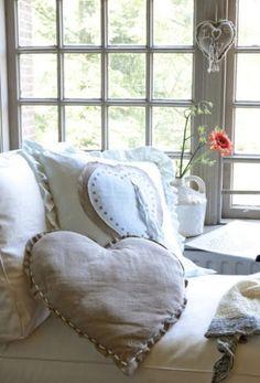 heart pillows in linen