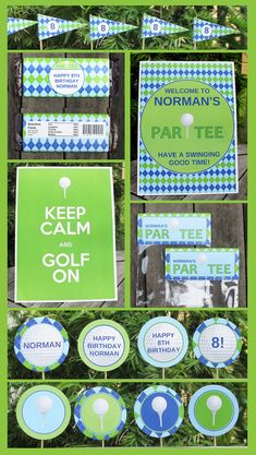 Golf Party Invitation & Printable Party Collection, EDITABLE text PDF file - you personalize at home with Adobe Reader. $14.95, via Etsy.