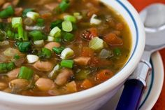 Pressure Cooker Recipe for Spicy Pinto Bean Soup with Ham, Tomatoes, and Cilantro