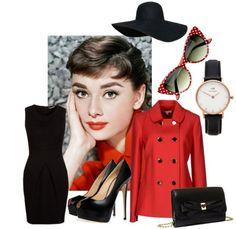 top hat jacket high heels little black dress bag watch audrey hepburn sunglasses Audrey Hepburn Mode, Audrey Hepburn Outfit, Audrey Hepburn Inspired, Fashion Beauty, Fashion Looks, Fashion Tips, Fashion Design, Audrey Hepburn Sunglasses, Red Cat Eye Sunglasses