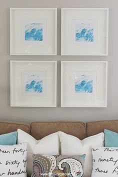 Easy DIY Watercolor Graphic Wall Art (or photograph ocean pics and frame)
