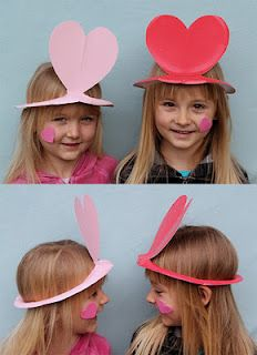 "Valentine's day hats to make using paper plates- could use for the ""Guess Who I Am"" game."