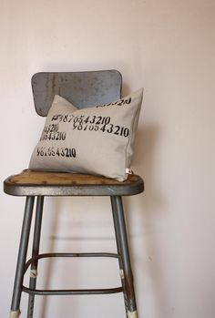 Numbers Collection Pillow - Hand Stamped Letterpress Text on Eco Friendly Hemp Fabric. $30.00, via Etsy.