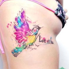 Amazing bird tattoo with quote: Let it be