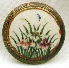 Antique Meiji Satsuma Button Iris Flowers with Lone Butterfly Design $14.50