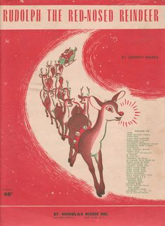 Vintage Rudolph The Red Nosed Reindeer sheet music printable for Christmas DIY and crafts. I remember this from when I was a kid :)