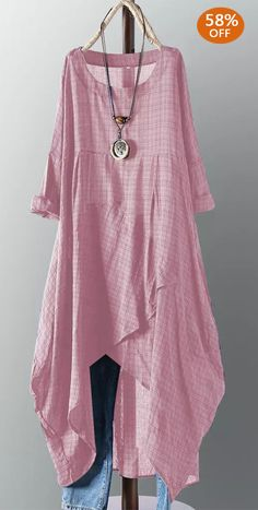 Vintage Cotton Plaid Solid Color Maxi Dress – Best Of Likes Share Boho Fashion, Fashion Dresses, Womens Fashion, Fashion Design, Club Fashion, Classy Fashion, Petite Fashion, Style Fashion, Mode Outfits