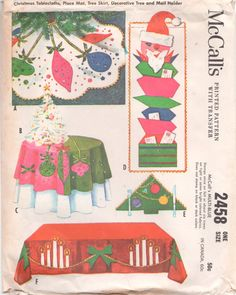 McCalls 2458 Retro Christmas Tablecloths Place Mats Holiday Decorations Vintage Sewing Pattern by mbchills Christmas Sewing, Christmas Past, A Christmas Story, Felt Christmas, Christmas Crafts, Christmas Ornaments, Christmas Things, Christmas Patterns, Modern Christmas