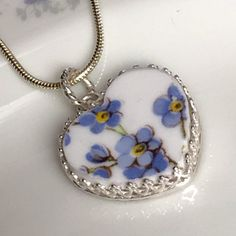 Broken China Jewelry/Heart Pendant by DinnerWearJewelry on Etsy