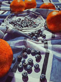 Oranges and Blueberries by Chris Krupinski Watercolor ~ 30 x 22
