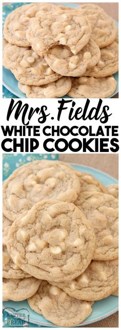 Mrs.Fields White Chocolate Chip Cookies are soft, delicious cookies filled with sweet white chocolate chips. Copycat Mrs.Field's cookie recipe that everyone can make at home! White #Chocolate Chip #Cookies #recipe from Butter With A Side Of Bread #butter #cookie #food #dessert #baking #foodie