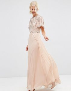 Embellished scallop sleeve maxi dress by Asos. Maxi dress by ASOS Collection, Lined woven fabric, Embellished top, High neckline, Scalloped sleeves, Zip back fasten...