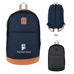 """Embrace your inner traveler with help from this Nomad backpack! Made of high-quality 1000-denier polyester and measuring 11""""W x 17""""H x 6 1/2""""D, this stylish product features a large front zippered pocket, a double-zippered main compartment with padded back, adjustable padded shoulder straps and a web carrying handle. Spot clean/air dry. It is available in two colors schemes and can be customized with a brand imprint for maximum corporate exposure. No less than minimum allowed ..."""