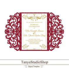 Gate-fold invitation template - SVG, DXF, ai, CRD, eps - Laser Paper Cut - Silhouette Cameo- Cricut - Instant Download 128 by TanyaStudioShop on Etsy