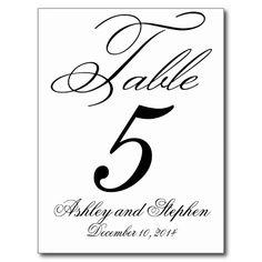Elegant Monogram Wedding Table Number Cards Post Cards