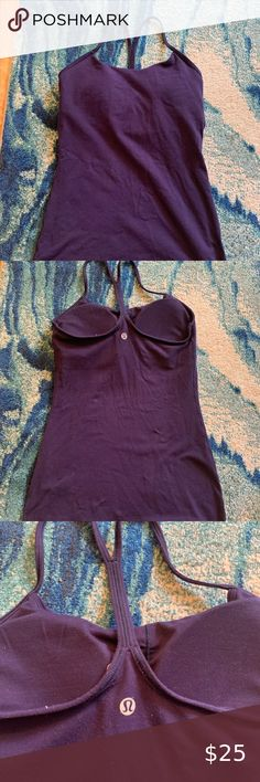 Lululemon Power Y Tank Dark purple color with A/B cup support. Removable bra cups still included. Size 4. No damage (rips, stains, pilling, etc.) lululemon athletica Tops Tank Tops B Cup, Dark Purple, Lululemon Athletica, Stains, Bra, Tank Tops, Best Deals, Womens Fashion, Closet