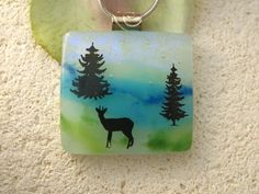 Deer Necklace Dichroic Glass Jewelry     Dichroic by ccvalenzo, $30.00