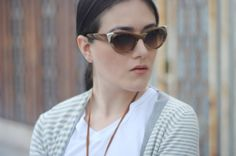[ Lizzie Lo ]: wasted time http://www.lizzie-lo.com/2015/09/wasted-time.html [Ralph Lauren western collection cat eye sunglasses RL8112  +  MAC velvet teddy  +  Maison Martin Margiela asymmetric striped cardigan  +  YSL t-shirt  +  vintage pocket watch  +  Zara ripped jeans  +   MMM cotton bag  +  Hermès collier de chien  +  BVLGARI save the children ring  +  CHANEL Graphite vernis  +  Miu Miu brogue pumps fw07]