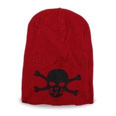 Made In Korea Unisex Skull Vintage Red Beanie of Cotton 100% Ski Hat, Men&Women #DreamTree #Beanie