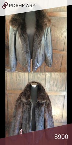 Beaver mink reversible leather bomber jacket New with tags's this incredible jacket is made of luxurious beaver mink fur. It's Pults or soft and supple and guard hairs have a luxurious glossy shine. Size large custom Jackets & Coats