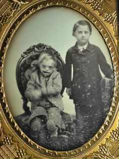 Daguerreotype ca 1855. The boy on the left appears to have Down's syndrome, I would be curious to research genetic disorders in the 1800's.