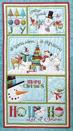 off Ho Ho Ho, Let it Snow Fabric Panel & Book by Nancy Halvorsen, Art to Heart Book & Benartex Good Tidings Loden Advent Fabric Panel by Nancy Halvorsen Christmas Patchwork, Christmas Quilt Patterns, Christmas Applique, Christmas Sewing, Christmas Fabric, Christmas Projects, Christmas Quilting, Snowman Patterns, Quilting Projects