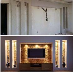 5 Design Tips for Your Dream Living Room – Voyage Afield Tv Wall Design, Ceiling Design, House Design, Modern Tv Wall Units, Tv Wall Decor, Living Room Tv, Living Room Designs, Home Decor, Images