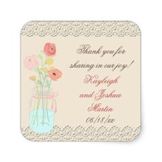 Rustic Posh in Coral Favor Stickers