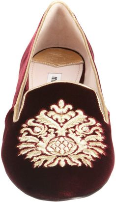 Mui Mui ~ Velvet Embroidered Slipon