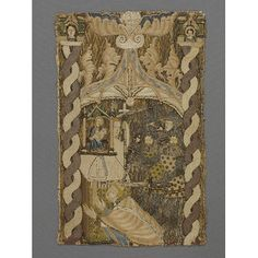 Panel from an orphrey with couching at the V&A. This piece was English made between 1370-1390.