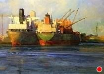 Cargoes From Across the Sea by Gil Dellinger Acrylic ~ 18 x 24