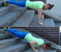Super-Toning Stair Circuit: Work shoulders, chest with the Decline Pushup. #SelfMagazine