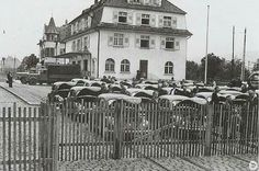 The first 25 VW Beetles imported into Switzerland in May 1948. Here at the customs office in Riehen near Basel.  #vw_vintage_morat