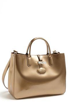 Longchamp Roseau Box Medium Tote in Gold (Platinum) | Lyst
