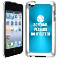 Apple iPod Touch 4 4G 4th Generation Light Blue B2214 hard back case cover Softball Players Do it Better:Amazon:Cell Phones & Accessories