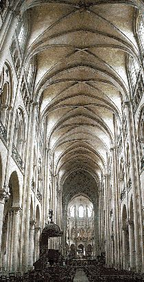 Gothic Architecture. The Nave and Choir of Noyon Cathedral, outside of Paris, shows the increased height of the Gothic style described as reaching up to God. (photo: Athena Review). Ribbed vaults and arches.  http://www.athenapub.com/14gothic-architecture.htm