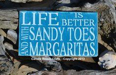 Life Is Better, Sandy Toes, Margaritas, Tiki, Bar, Beach, Coastal, Nautical, Decor, Sign, Wood, Hand Painted, 18x10 via Etsy