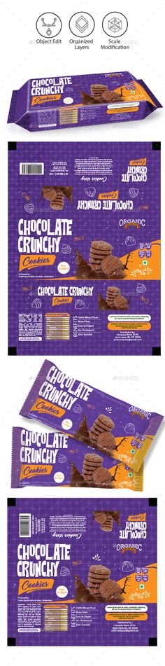 Chocolate Cookies Packaging Template — Vector EPS #snacks #crisps foil bag • Download ➝ https://graphicriver.net/item/chocolate-cookies-packaging-template/18929291?ref=pxcr