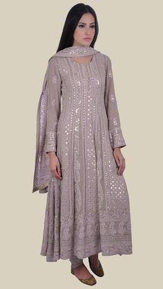 Chikankari suits - Hazelnut Chikankari Gota Patti And Zari Hand Embroidered Anarkali Designer Anarkali Dresses, Designer Party Wear Dresses, Kurti Designs Party Wear, Pakistani Dress Design, Pakistani Outfits, Indian Wedding Outfits, Indian Outfits, Indian Gowns Dresses, Indian Designer Suits