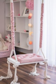 The new dimension of the seat 50x25! Elegant swing on ropes with upholstered seat in powder pink color. The swing can be a beautiful decoration in a childrens room or living room. But thats not all, because more and more often our swing is ordered for special photographic sessions, for florists or