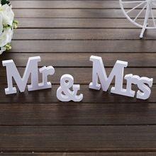 3 pcs/ensemble De Mariage Décorations Mr & Mrs Mariage Décor de Fête D'anniversaire Décorations Blanc Lettres Signe De Mariage Chaude(China)