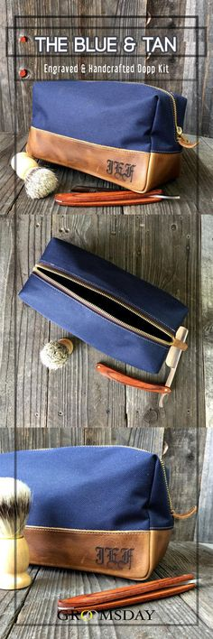 The perfect balance between canvas & leather has arrived in the form of this personalized Dopp Kit. Crafted from soft-rich, hand-picked top grain leather and the exterior and interior composed of 400 denier water repellent canvas, this navy blue canvas a Best Groomsmen Gifts, Wedding Gifts For Groomsmen, Bridesmaids And Groomsmen, Groomsman Gifts, Bridesmaid Gifts, Wedding Shower Gifts, Bridal Shower, Canvas Leather, Tan Leather