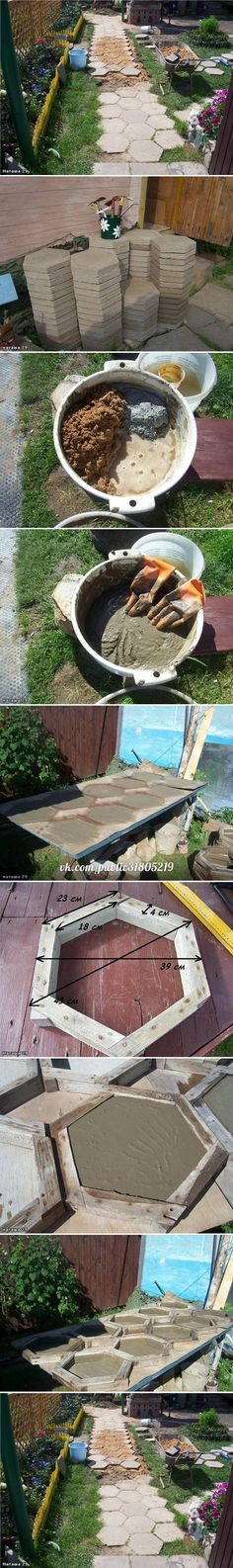 DIY Hexagon Paving Stones