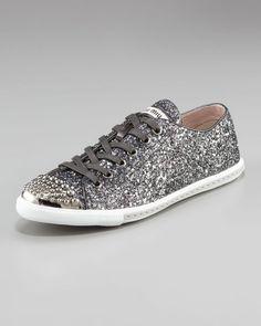 Miu Miu Glitter Sneaker in Gray (anthracite)