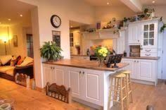 Image result for open plan kitchen diner living room country style